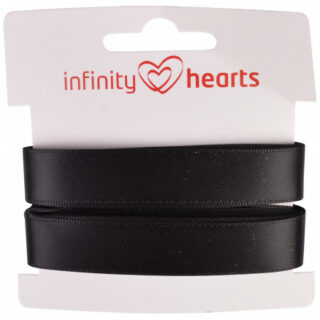 Infinity Hearts Satinbånd Dobbeltsidet 15mm 030 Sort - 5m