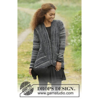 Midnight Roads by DROPS Design - Jakke Strikkeopskrift str. S - XXXL